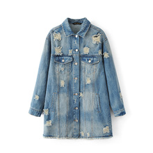 2017Autumn women fashion high quality western style  hole ripped floral embroidery denim jacket ladies frayed vintage jean coat