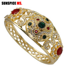 SUNSPICEMS Fashion Caucasus Ethnic Wedding Bangle For Women Gold Color  Hollow Cuff Bracelet Full Crystal Indian Bridal Jewelry 3824e2917b68