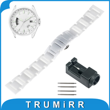 16mm 18mm 20mm Full Ceramic Watch Band for Citizen Watchband Wrist Strap Link Bracelet + Upgraded Tool +Pin Black Silver