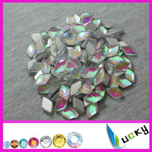 1440PCS 8*13mm diamond shape crystal ab color hotfix epoxy resin flatback pearl rhinestone hotfix perfect faceted look pearl(China)
