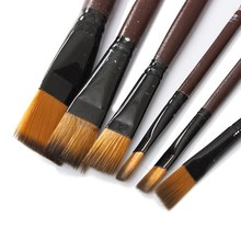 6pcs/lot Wholesale Price Newest Brown Tip Nylon Paint Brushes Set For Art Artist Supplies Accessory Fit For Painting