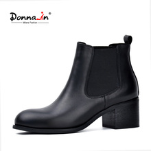 Donna-in genuine leather winter boots classic Chelsea natural leather women boots boots round toe thick heel ladies ankle boots(China)