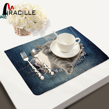 Miracille Fashion 3D Dog Cat Animals Pattern Kitchen Accessories Table Set Napkin Bowl Dining Mats Kids Table Set Home Decor