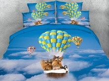3d bedding queen size bedspread bed cover comforters sheets set twin full king size woven 500TC fire balloon dogs print Children