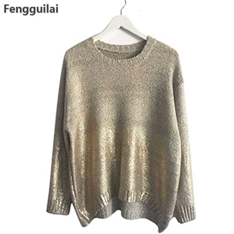 Fashion 2018 Womens Golden Gradient Jumpers Oversized Pullover Ladies Loose Sweater Plus Size Bat -Sleeve Blouse Tops Knitwear