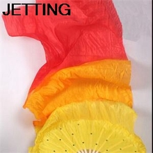 HE Colorful Belly Dancing Fans Tools For Women 2014 Pretty Simulation Bamboo Hand Made Long Silk Fans Women EH