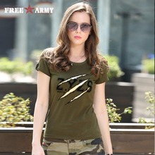 Summer Fashion Ladies Tshirts Tops Womens Army Green O Neck Cotton Brand T-Shirt Cotton Plus Size Women Clothing Gs-8557A(China)