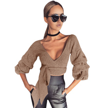 2017 Women Crop Tops Series Autumn Deep V Neck Sashes Knitted T-Shirt Femme Cropped Basic Cross Slim Full Sleeve T Shirt(China)