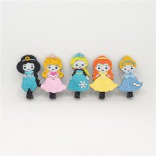 10pcs/lot Glitter Felt Princess Hair Clip Cartoon Animation Crown Cute Girl in Dress Pretty Kid Fairy Tale Character Barrette(China)