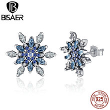 100% 925 Sterling Silver Crystalized Snowflake, Blue Crystals & Clear CZ Stud Earrings Women Gift Fashion Jewelry WEUS480 - BISAER BS Official Store store
