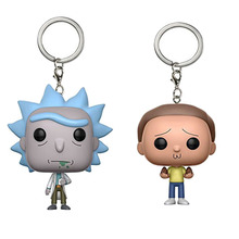 2017 New Anime Rick and Morty Action Figure Pocket Keychin Toys Cool Rick and Morty  Figures Key Chain Ring Rick and Morty Model