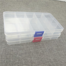 Multifunctional High Strength 17*10*2cm with 15 Compartments Transparent Visible Plastic Fishing Lure Box Fishing Tackle box