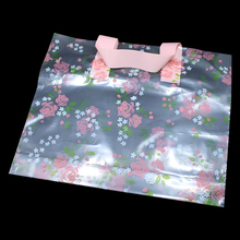 DHL 200pcs/lot Transparent Plastic Shopping Bags with Handle Floral Rose Print Gift Clothes Retail Packing Large Clear Wholesale(China)