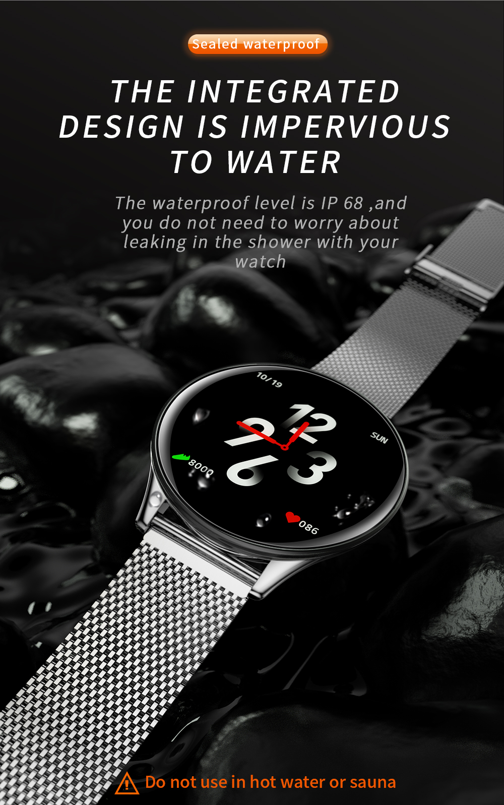 2019 Smart Watch IP68 Waterproof Activity Fitness Tracker Pace Heart Rate Monitor Smart Band SN58 LCD Tempered glass Wristwatch (5)