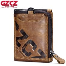 GZCZ Genuine Leather Men Wallet Fashion Coin Purse Card Holder Small Wallet Men Portomonee Male Clutch Zipper Clamp For Money(China)