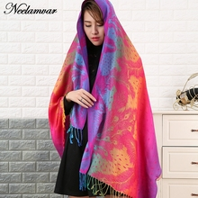 Neelamvar Double Sided cotton Jacquard Scarf Wraps women national styles shawl winter Echarpe scarves lady pashmina Cachecol(China)