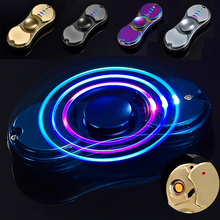 Spinning Top Fidget Spiner With Flashing LED Light Metal Tri-Spinner USB Cigar Lighter Hand Toys Gift For Adults #E