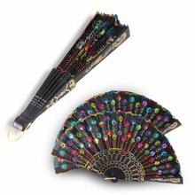Chinese  Folding Peacock Hand Fan Bead Fabric  Decor Colored Embroidered Flower Pattern Black Cloth Folding Hand Fan