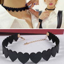 Simple Fashion Women Black Love Heart Shape Choker Collar Short Necklace Women Jewelry Accessories