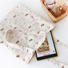 YILE  Cotton Linen Shopping Tote Shoulder Carrying Bag Eco Reusable Bag Printed White Cat Red Paw NEW L040