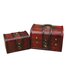 Hot 2PCS Handmade Vintage Wooden Treasure Case Decorative Trinket Jewelry Storage Box Old Memory
