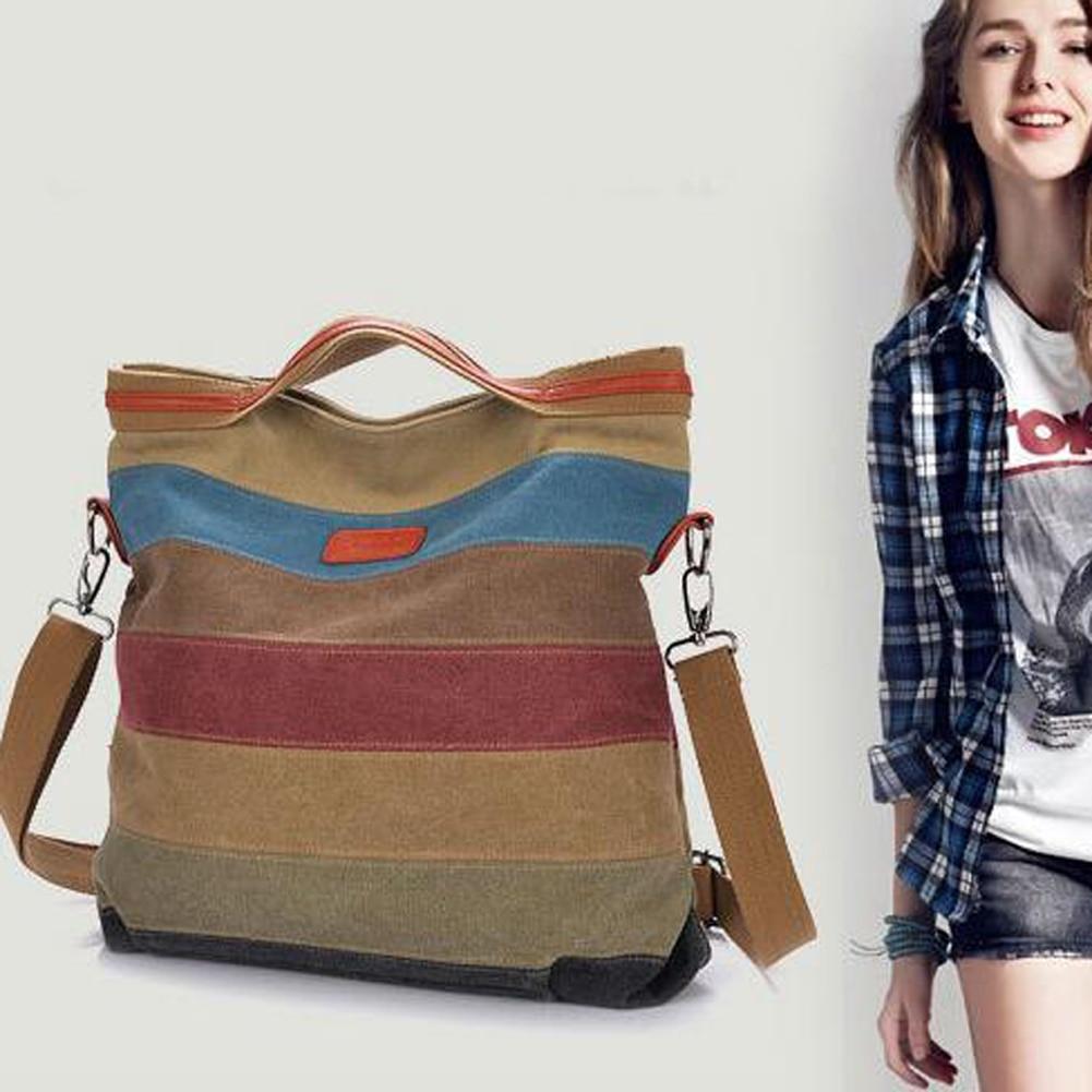 Designer Korean Women Handbag Stitching Color Stripe Vintage Canvas Shoulder Bags Retro Ladies Handbags Womens Messenger Bags<br><br>Aliexpress