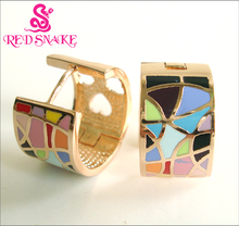 RED SNAKE Great Value! Brand Product Hot Selling Width Rose Gold-color Enamel Jewelry Earrings, Hurry!