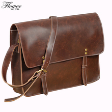 FLOWER WIND wholesale price good quality men's messenger bags pu leather travel bag luxury pretty style shoulder bags handbags(China)