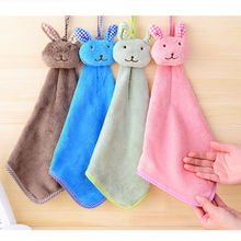1PCS Baby Nursery Rabbit Hand Towel Toddler Soft Plush Cartoon Animal Wipe Hanging Bathing Towel For Children Bathroom 5 Colors(China)