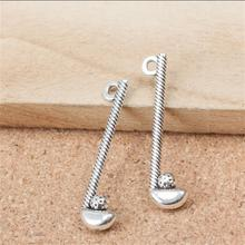 BULK 30 Zinc Alloy Antique Silver Plated Golf Stick and Ball Charms Golf Club Pendant Wholesale Hand Craft Suppilers 32*8mm 1.2g(China)
