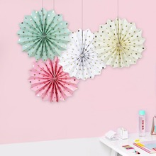 30cm 6'' Dot Paper Fans For Party Decorations Wedding Birthday Shower Home Festival Baby Shower Decoration Wedding Hanging Decor(China)