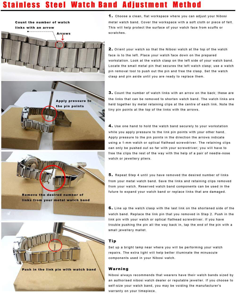 Englishi instruction for stailness steel band
