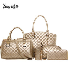 New hot explosion composite package trend 6PCS sets lattice bag bag singles shoulder bag handbag women purse wallet mix seller
