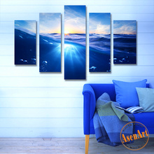 5 Piece Blue Ocean Picture Sea Wave Canvas HD Prints Artwork Seascape Sunrise Painting for Living Room Decorative Paintings