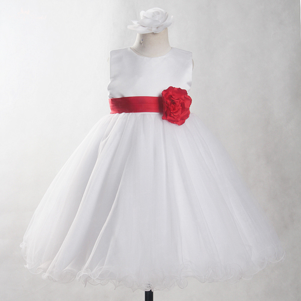 FG82 Real Pictures Yiaibridal Red Belt And Flowers White First Communion Dress Ball Gowns For Children