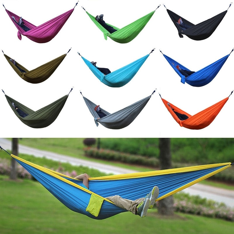 portable outdoor parachute camping hammock double person nylon fabric hanging hammock swing bed<br><br>Aliexpress