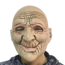 Halloween Funny Smiling Old Man Latex Mask Realistic Old People Full Face Rubber Masks Masquerade Cosplay Props Adults Size(China)