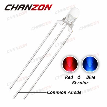 CHANZON 100pcs 3mm LED Diode Blue Red Common Anode Transparent 3 mm Round Bicolor Light-Emitting Diode 20mA Ultra Bright Light