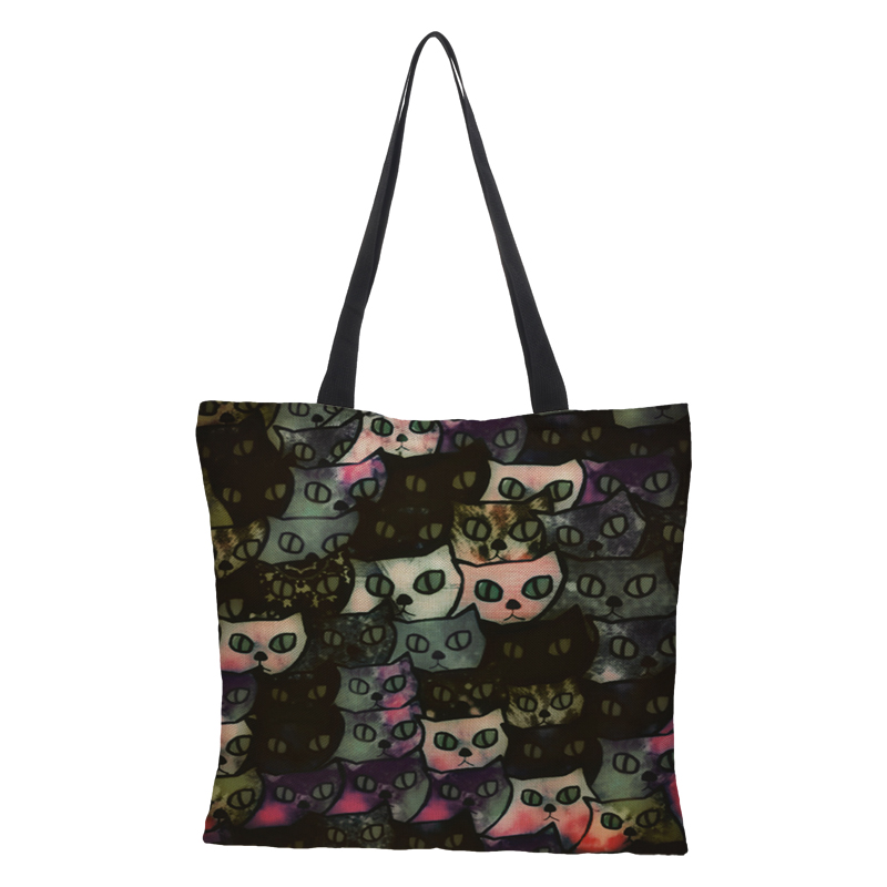 fbbd83475961 CROWDALE Double-sided Cates Painted bag Women Large Linen Shopping Bag  Handbag Bag Fashion Women Shoulder Cloth Pouch 43cm 43cm