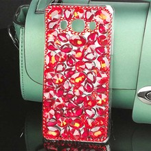 China Red Rhinestone Case for Samsung Galaxy J5 2016 Jewelry Bling Colorful Square PC Hard Cover for Samsung J5 2016 Accessories