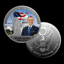 WR Silver Plated Colored Commemorative Coins The Uinite States President Barack Hussein Obama Jr. Memorial Coin 2016 New(China)