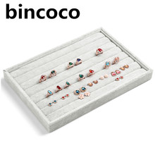 bincoco rings receive tray gray velvet jewelry display tray Jewelry Display Showcase Organizer Holder tray's size 35*24*3.5cm(China)