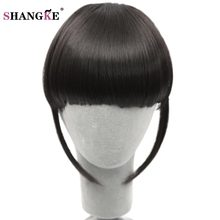 SHANGKE Short Frange Hair Bangs Hairpiece Heat Resistant Synthetic Clip In Hair Extensions Bangs False Hair Piece 8 Colors(China)