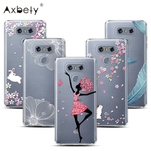 "Axbety Case For LG G6 Case Transparent Silicone Cover Flower Girl wings Pattern Case For LG G 6 H870DS H870 5.7""Fairy Floral(China)"