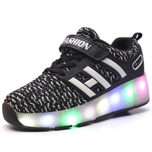 Flashing Single Wheel Glowing Sneakers LED Light Roller Skate Shoes Boys Girls Little Kids/Big Kids Board Fashion  LE Sport