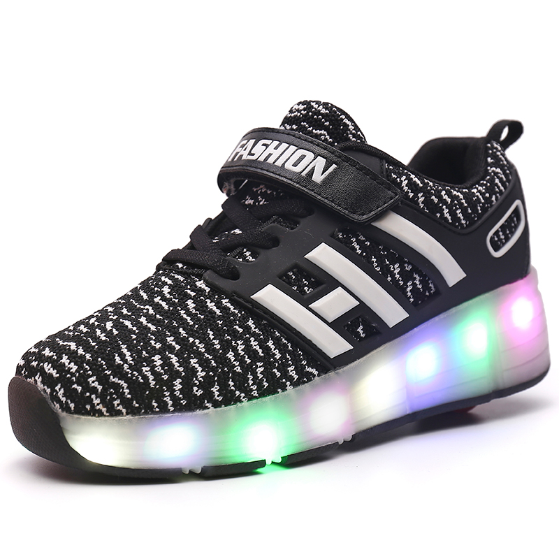Flashing Single Wheel Glowing Sneakers LED Light Roller Skate Shoes Boys Girls Little Kids/Big Kids Board Fashion LE Sport(China)