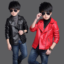 2017 new trend fashion children's clothing boys and girls coat color 2 color optional age PU Lapel Korean jacket 2-12 years old