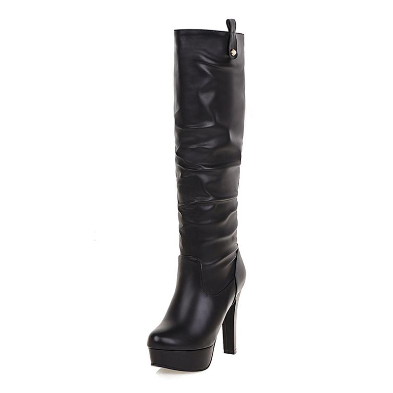 Big Size 34-43 4 Colors 2017 High Heels Platform Knee High Boots Concise Female Fall Winter Boots Slip On Women Shoes Woman<br><br>Aliexpress