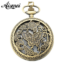 Wholesale buyer 1 price good quality fashion retro new bronze spin vintage butterfly pocket watch necklace with chain