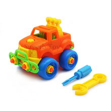 DIY Assembled Toys Colorful Jeep with Screwdriver Disassembly Model Building Blocks Educational Toy for Children